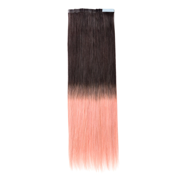 "ELEGANT 50G 20"" Tape-In Extensions Ombre Off Black/Pink (1B/Pink)"