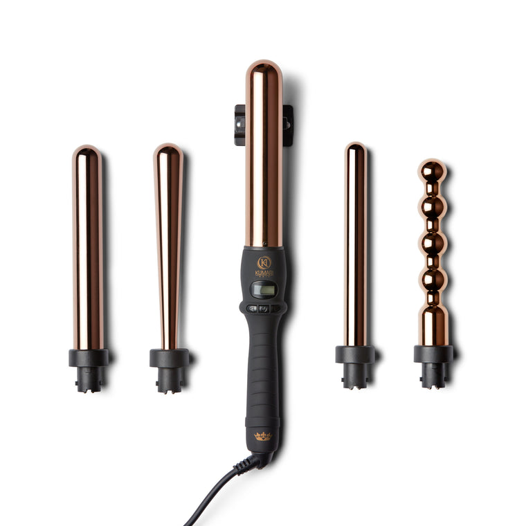GOLD ROYALE 5-IN-1 ROSE GOLD Curling Wand Set
