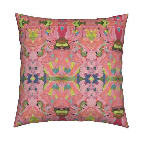 July Blooms Abstract Throw Pillow