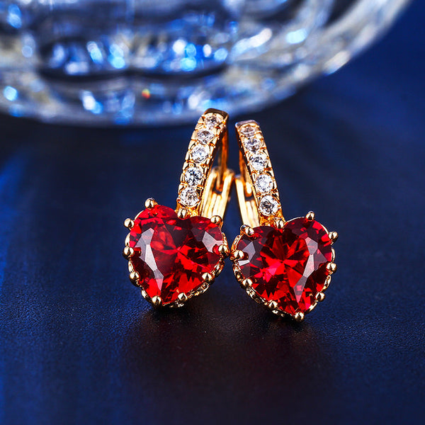 Diamond In The Rough Red Ruby Earrings