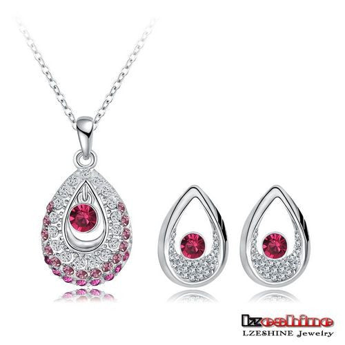 2015 New Arrival Women Jewelry Set 18K Gold Plated With Austrian Crystal Pendant/Earrings Set Fashion Jewelry Wholesale PCST0001