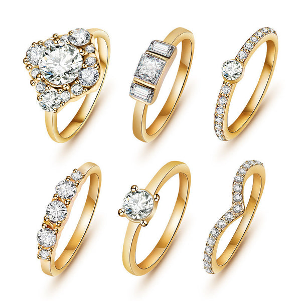 (6pcs /set) Hot Shiny 18K Gold Crystal Austrian Zircon Rings Set Noble Charms Wedding Rings For Women Girls Sapphire Jewelry