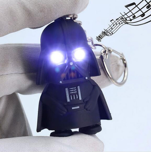 Free Shipping 2016 Star Wars Keyring Light Black Darth Vader Pendant LED KeyChain For Man Gift GM567