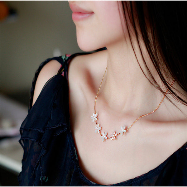 1pc korean womens fashion simulated pearl flowers long necklace jewelry gold tone sweet sweater chains colar