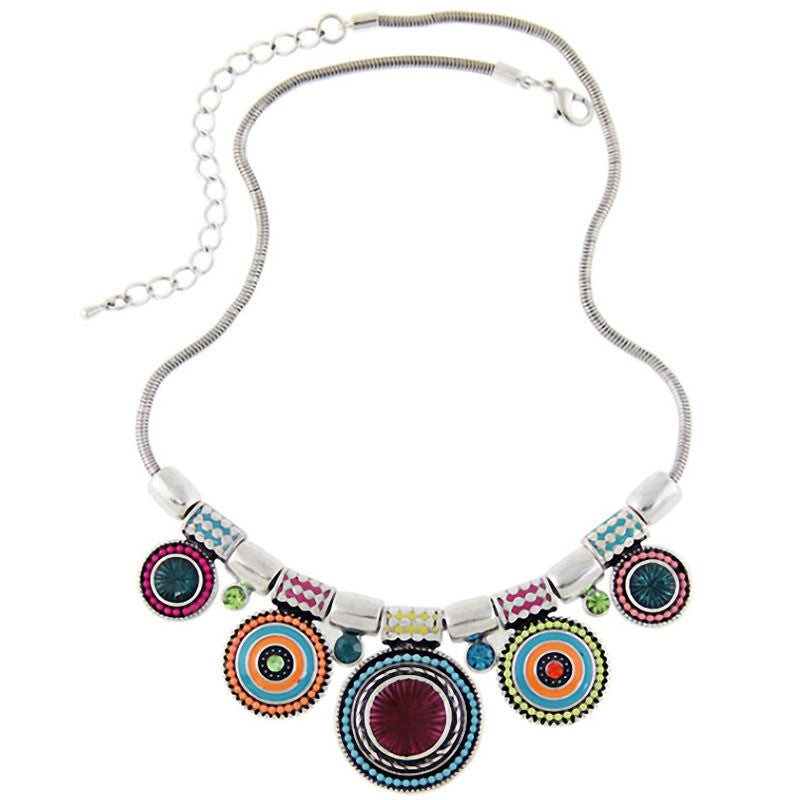Bohemia Vintage Metal Enamel Statement Necklace Women Multicolor Necklaces & Pendants Jewelry Colar For Gift Party