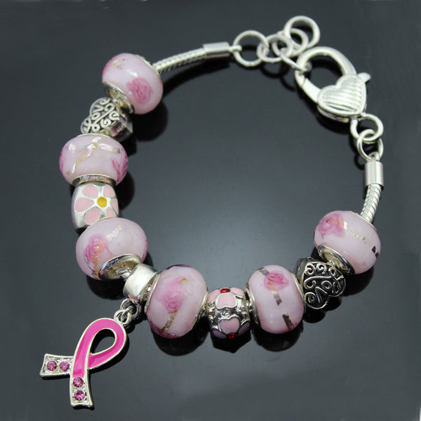 """Care For Breast Cancer"" Pink CZ Stone Ribbon Pendant Heart & Flower Charms Murano Beads 925 Silver Bracelet + Gift Pouch PBS040"
