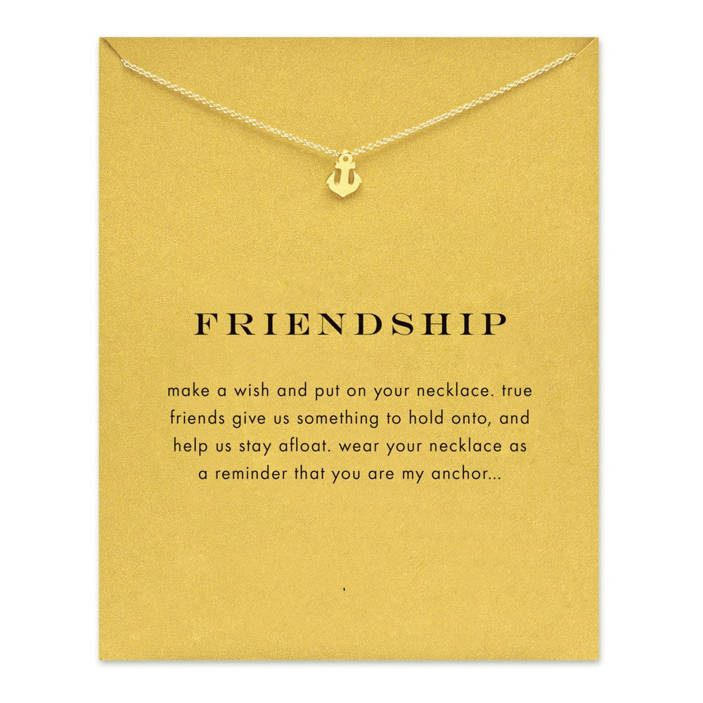 Sparkling friendship Anchor gold plated Pendant necklace Clavicle Chains Fashion Statement Necklace For Women Jewelry