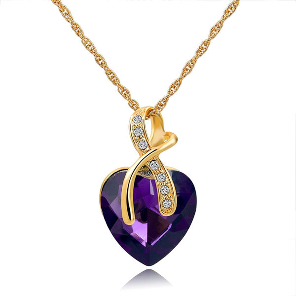 2016 Fashion Jewelry Austrian Crystal Heart Pendant Necklace Women Gold Plated Necklaces & Pendants Collares SNE140228