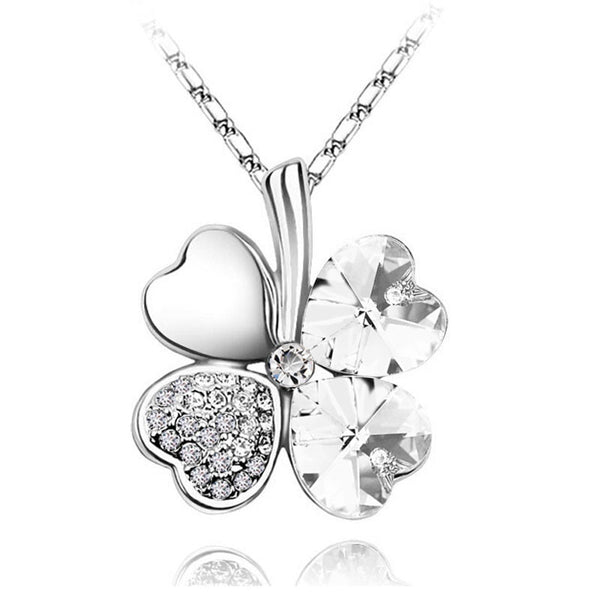 $ 0.99 promotion factory hotsell 18KGP Austrian Crystal four Leaf Leaves Clover heart rhinestones necklace pendant jewelry 9554