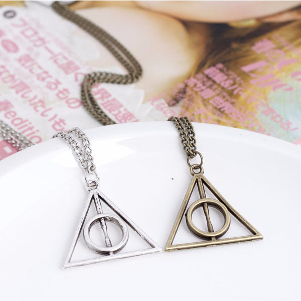 Hot Sale Movie Harry Potter Deathly Hallows Triangle Metal Pendant long Chain Necklace 3 Color XL331