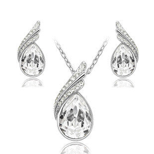 Fashion Jewelry Sets Silver Plated Rhinestone Jewelry Sets Necklace Earrings Crystal Set For Women SET150037