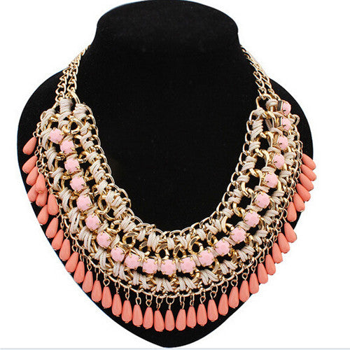 Fashionable Statement Big Statement Colorful Vintage Bohemian Choker Necklaces Crystal Gold Chain Multilayer Collar Woman