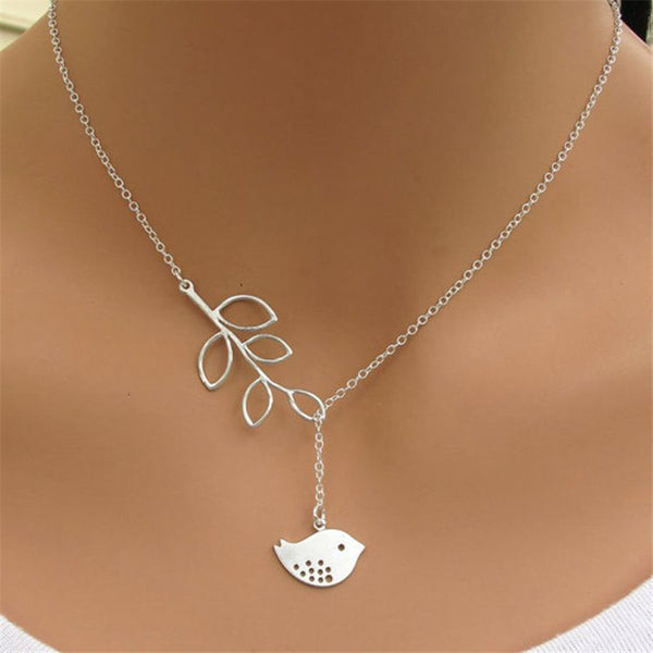 2pcs/lot  Jewelry 2015 New Gold And Sliver Two Leaf Pendants Necklace Chain multi layer statement necklaces Woman Gift SALE 50