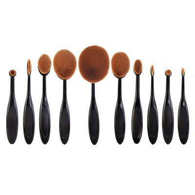 Toothbrush Shape Oval Makeup Brush Foundation Powder Eyebrow Make up Brushes Beauty Tools ROSE Gold black 5PCS/Set 10PCS/set