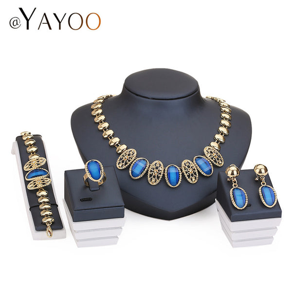 Necklace Ring Bracelet Earrings Gold Plated Fine Jewelry Sets For Women Bridal Crystal Wedding Dress Accessories Set