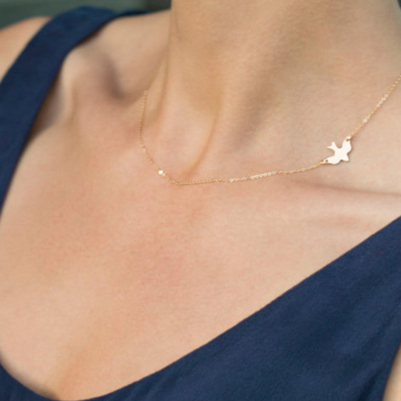 Layering Necklace Gold, Silver, Gold Delicate Gold bird Necklace / Dove Necklace  XL238