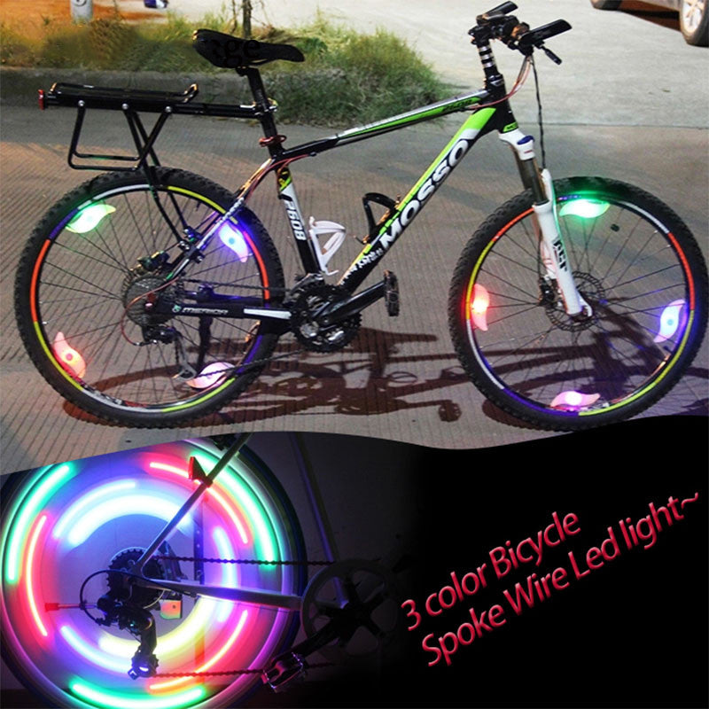 New 1PC Accessories Velo Mountain Bike Bicycle Cycling Supplier Spoke Wire Tire Tyre Hot Wheel LED Bright Lamp Bike Light Cateye