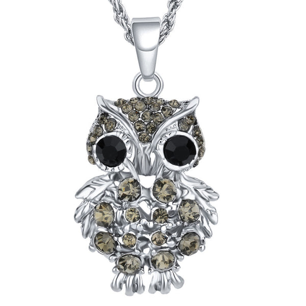 New Brand Charms Owl Necklaces&Pendants Vintage Crystal Gem Cubic Zircon Diamond 18K Gold Long Chain Necklace Women Jewelry A324