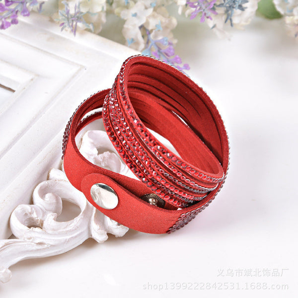 !New Hot Selling Fashion 12 Layer Leather Bracelet! Charm Bracelets Bangles For Women !Buttons Adjust Size!