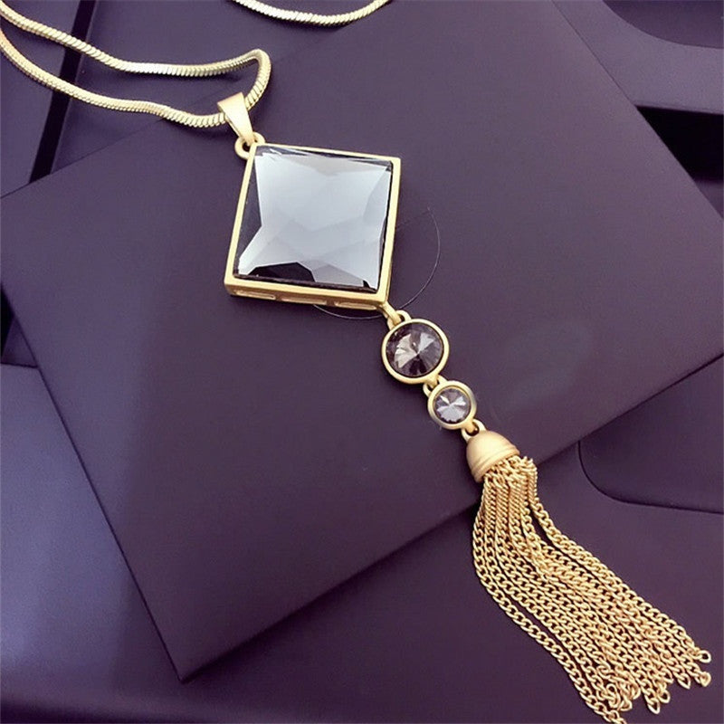 New Brand 18K Gold Tassels Long Necklace Vintage Triangle Crystal Pendant Punk Necklace Women Fine Jewelry Gift TP041