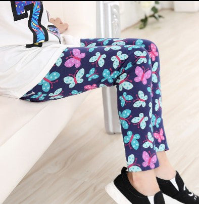free shipping 1pc retail cheap baby girl flower leggings kids brand skinny pants children butterfly trousers