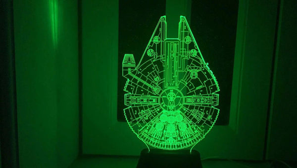 Star Wars BB8 droid 3D Bulbing Light toys 2016 New  7 color changing visual illusion LED lamp Darth Vader Millennium Falcon toy