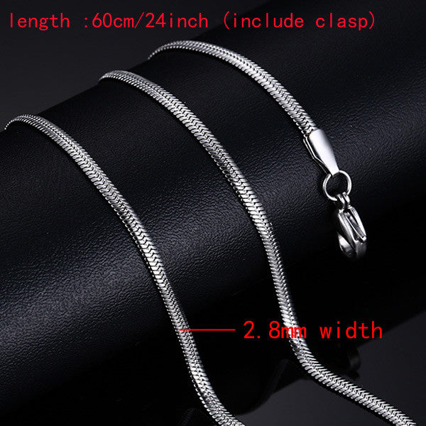 18K Gold Plated Chain Necklace For Men Women Stainless Steel Snake Chain 24inch Wholesale DIY Long Chain