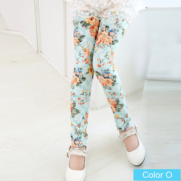 New arrive girl pants printing Flower girls leggings Toddler Classic Leggings  2-13Ybaby girls leggings kids leggings 21color