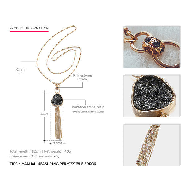 eManco Fashion Hot Now Tassel Statement Chain Necklace & Pendant Women Black Imitation Stone Resin Gold Plated Brand Jewelry