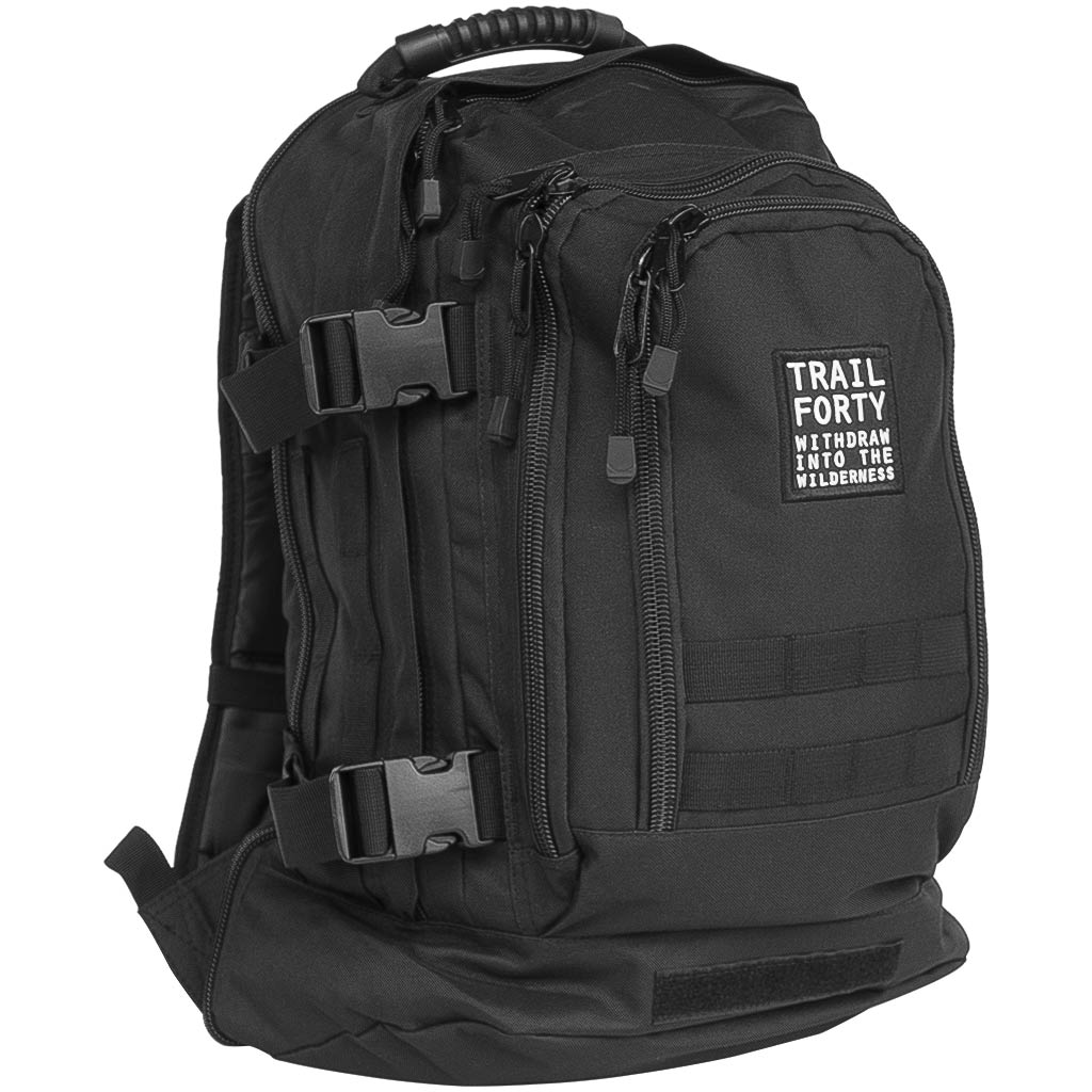 Expandable Backpack | Black | Faith inspired apparel and gear. Christian clothing and backpacks. T-Shirts, Sweatshirts, and Bags. TRAIL FORTY | WITHDRAW INTO THE WILDERNESS | Luke 5:16 | TRAILFORTY.com