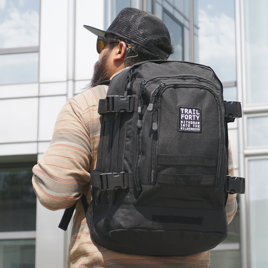 TRAIL FORTY | ETE Backpack | Black | TRAIL FORTY | WITHDRAW INTO THE WILDERNESS | Luke 5:16 | TRAILFORTY.com