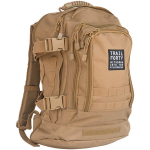 Expandable Backpack | Tan | Faith inspired apparel and gear. Christian clothing and backpacks. T-Shirts, Sweatshirts, and Bags. TRAIL FORTY | WITHDRAW INTO THE WILDERNESS | Luke 5:16 | TRAILFORTY.com