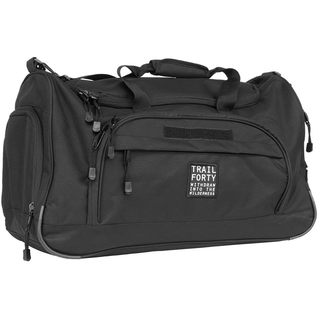 TRAIL FORTY | ETL Duffel | Black | Faith inspired apparel and gear. Christian clothing and backpacks. T-Shirts, Sweatshirts, and Bags. TRAIL FORTY | WITHDRAW INTO THE WILDERNESS | Luke 5:16 | TRAILFORTY.com