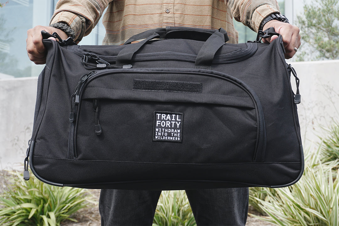 ETL Duffel | Black | Faith inspired apparel and gear. Christian clothing and backpacks. T-Shirts, Sweatshirts, and Bags. TRAIL FORTY | WITHDRAW INTO THE WILDERNESS | Luke 5:16 | TRAILFORTY.com
