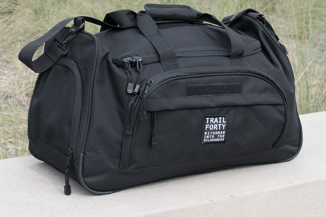 TRAIL FORTY | ETL | Duffel | Black | TRAIL FORTY | WITHDRAW INTO THE WILDERNESS | Luke 5:16 | TRAILFORTY.com