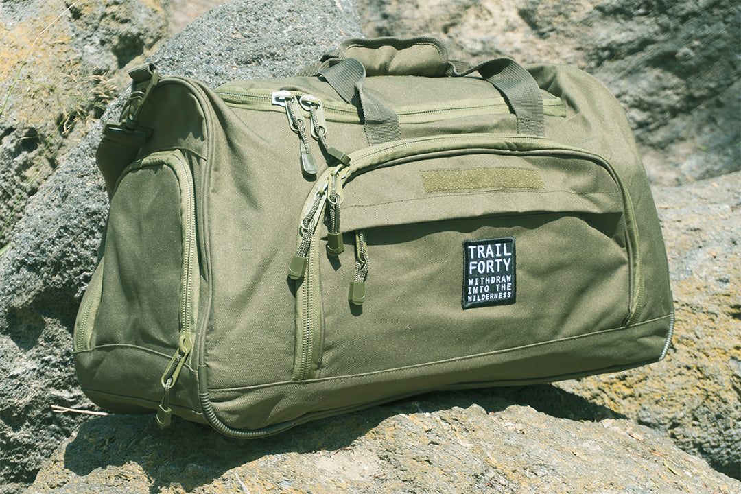 TRAIL FORTY | ETL Duffel | Green | TRAIL FORTY | WITHDRAW INTO THE WILDERNESS | Luke 5:16 | TRAILFORTY.com