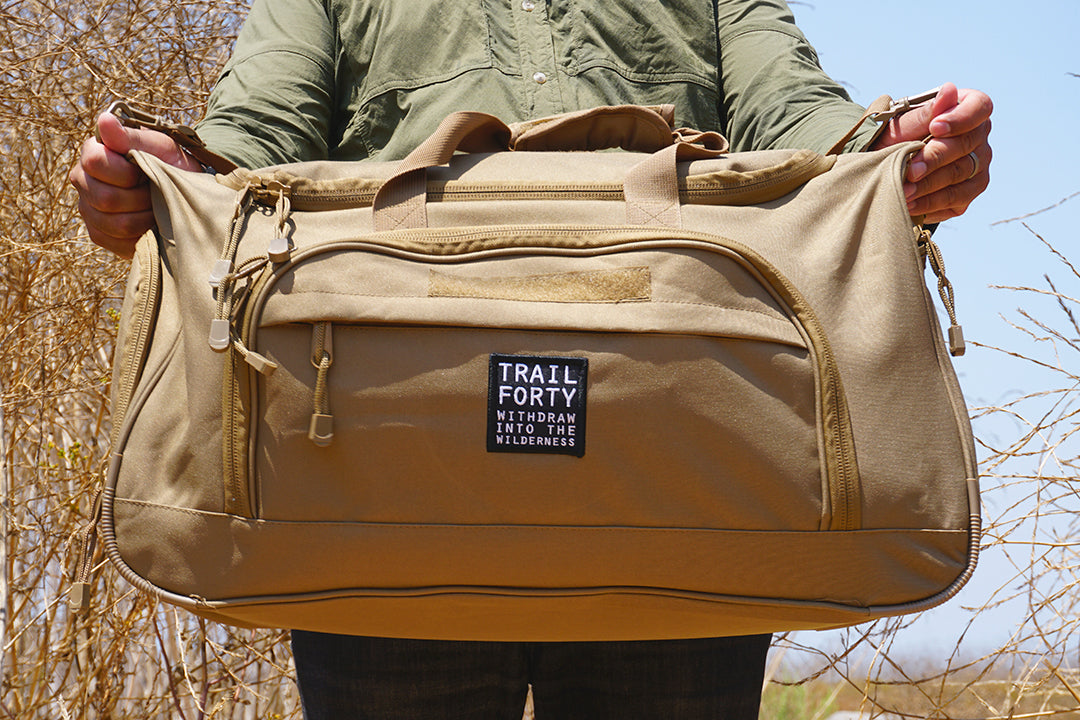 TRAIL FORTY | ETL | Duffel | Tan | TRAIL FORTY | WITHDRAW INTO THE WILDERNESS | Luke 5:16 | TRAILFORTY.com