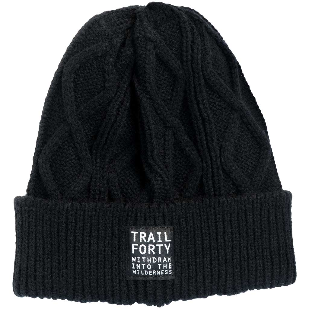 TRAIL FORTY | Cable Knit Beanie | Black | Faith inspired apparel and gear. Christian clothing and backpacks. T-Shirts, Sweatshirts, and Bags. TRAIL FORTY | WITHDRAW INTO THE WILDERNESS | Luke 5:16 | TRAILFORTY.com