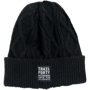 Cable Knit Beanie | Black | Faith inspired apparel and gear. Christian clothing and backpacks. T-Shirts, Sweatshirts, and Bags. TRAIL FORTY | WITHDRAW INTO THE WILDERNESS | Luke 5:16 | TRAILFORTY.com