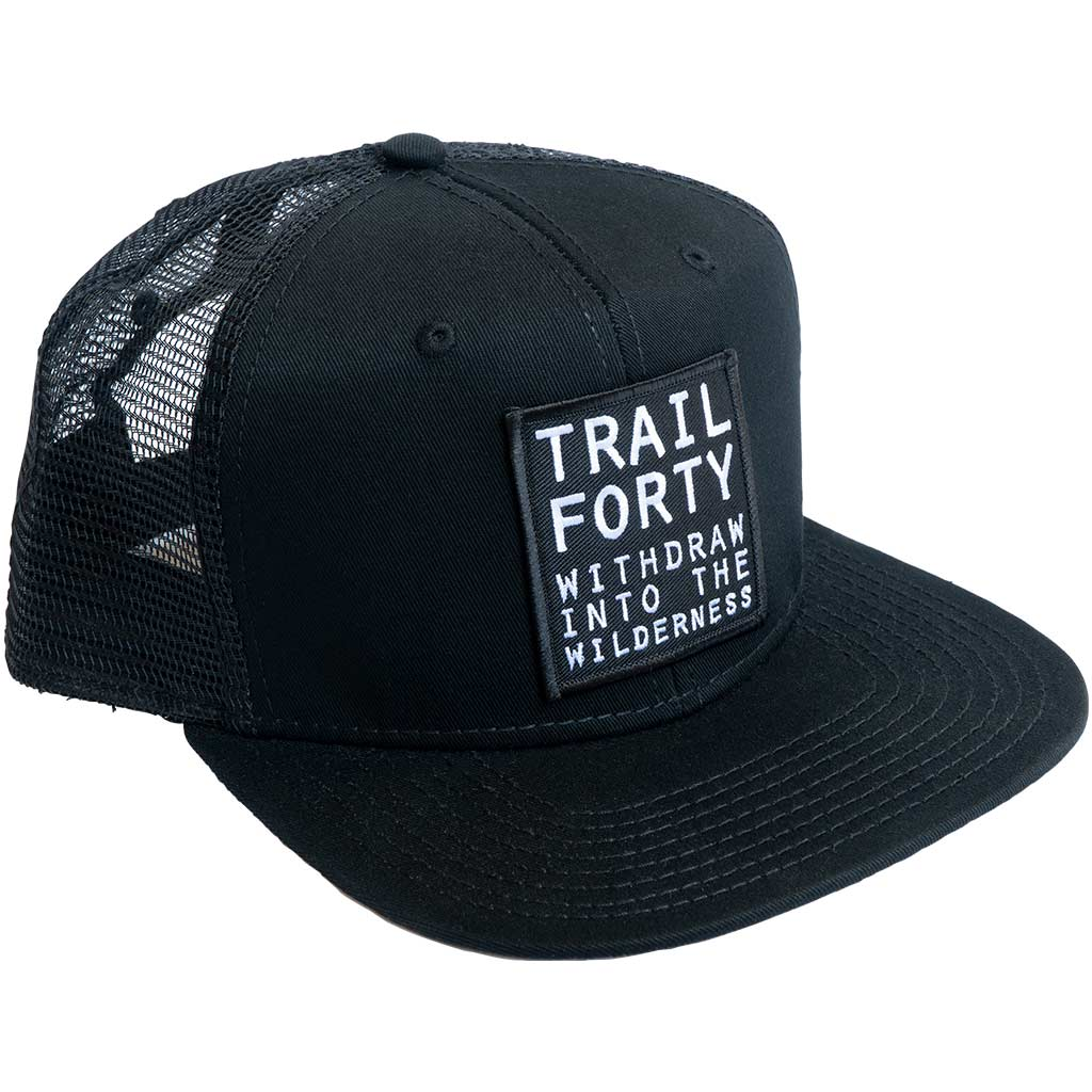 TRAIL FORTY | Snapback Cap | Black | Faith inspired apparel and gear. Christian clothing and backpacks. T-Shirts, Sweatshirts, and Bags. TRAIL FORTY | WITHDRAW INTO THE WILDERNESS | Luke 5:16 | TRAILFORTY.com