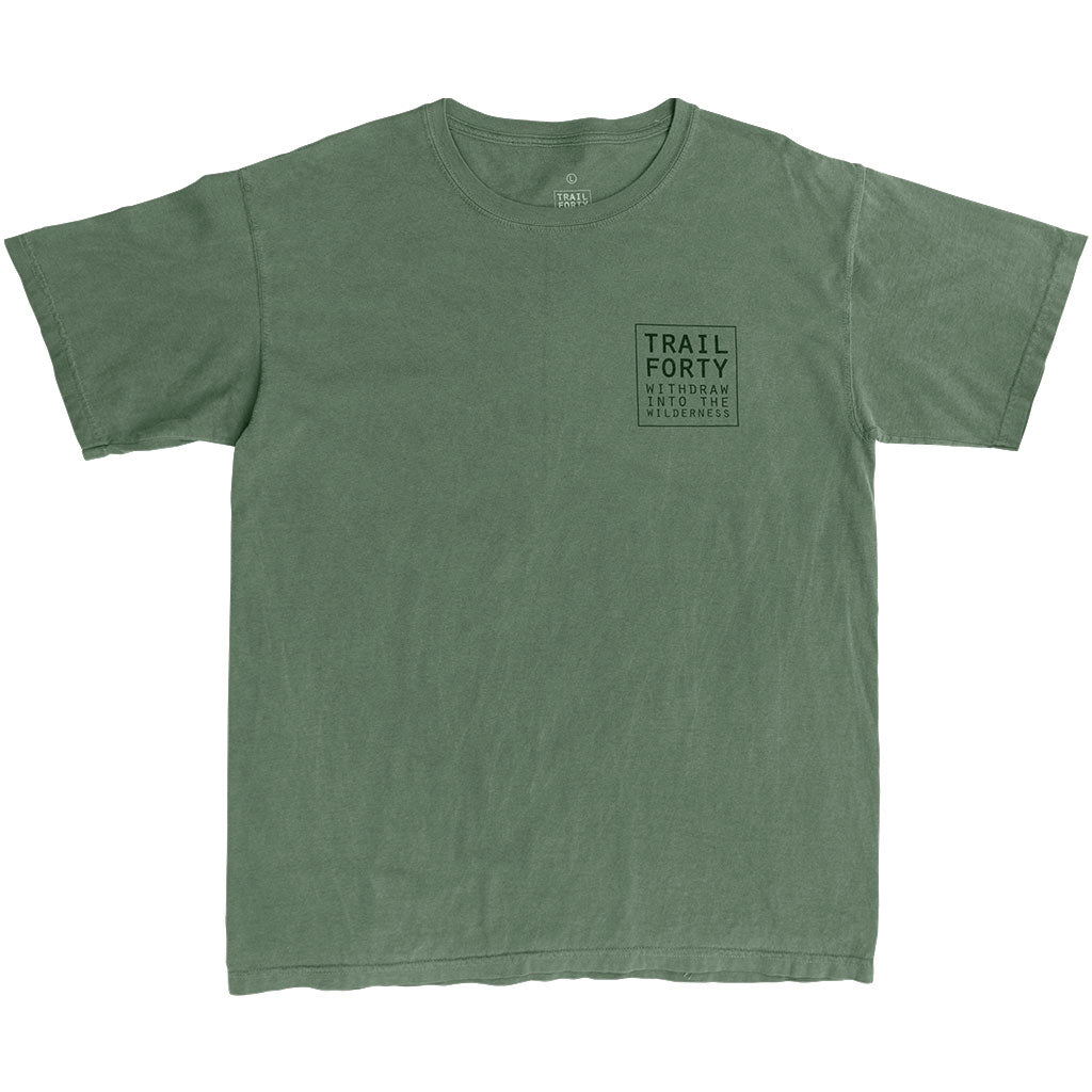T-Shirt | Unisex | Green | Faith inspired apparel and gear. Christian clothing and backpacks. T-Shirts, Sweatshirts, and Bags. TRAIL FORTY | WITHDRAW INTO THE WILDERNESS | Luke 5:16 | TRAILFORTY.com