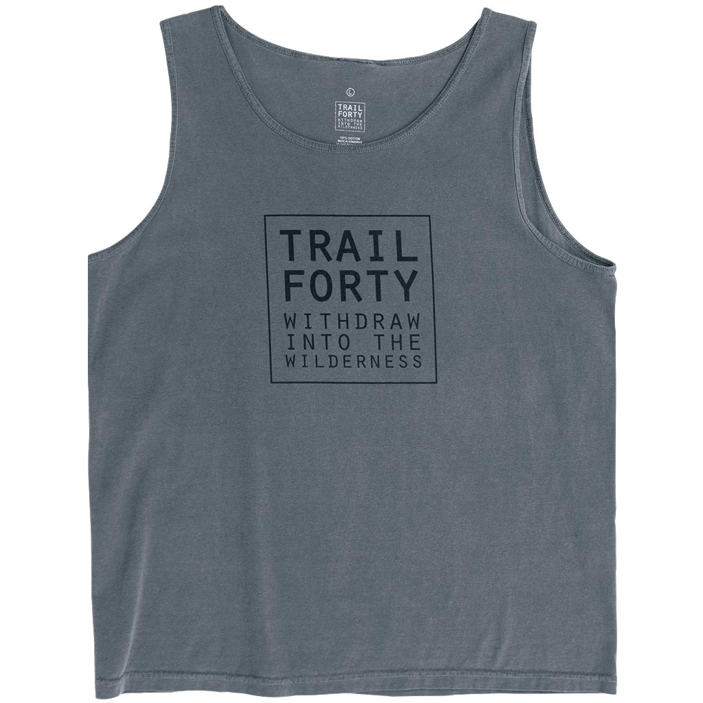 Tank Top | Men | Gray | Faith inspired apparel and gear. Christian clothing and backpacks. T-Shirts, Sweatshirts, and Bags. TRAIL FORTY | WITHDRAW INTO THE WILDERNESS | Luke 5:16 | TRAILFORTY.com