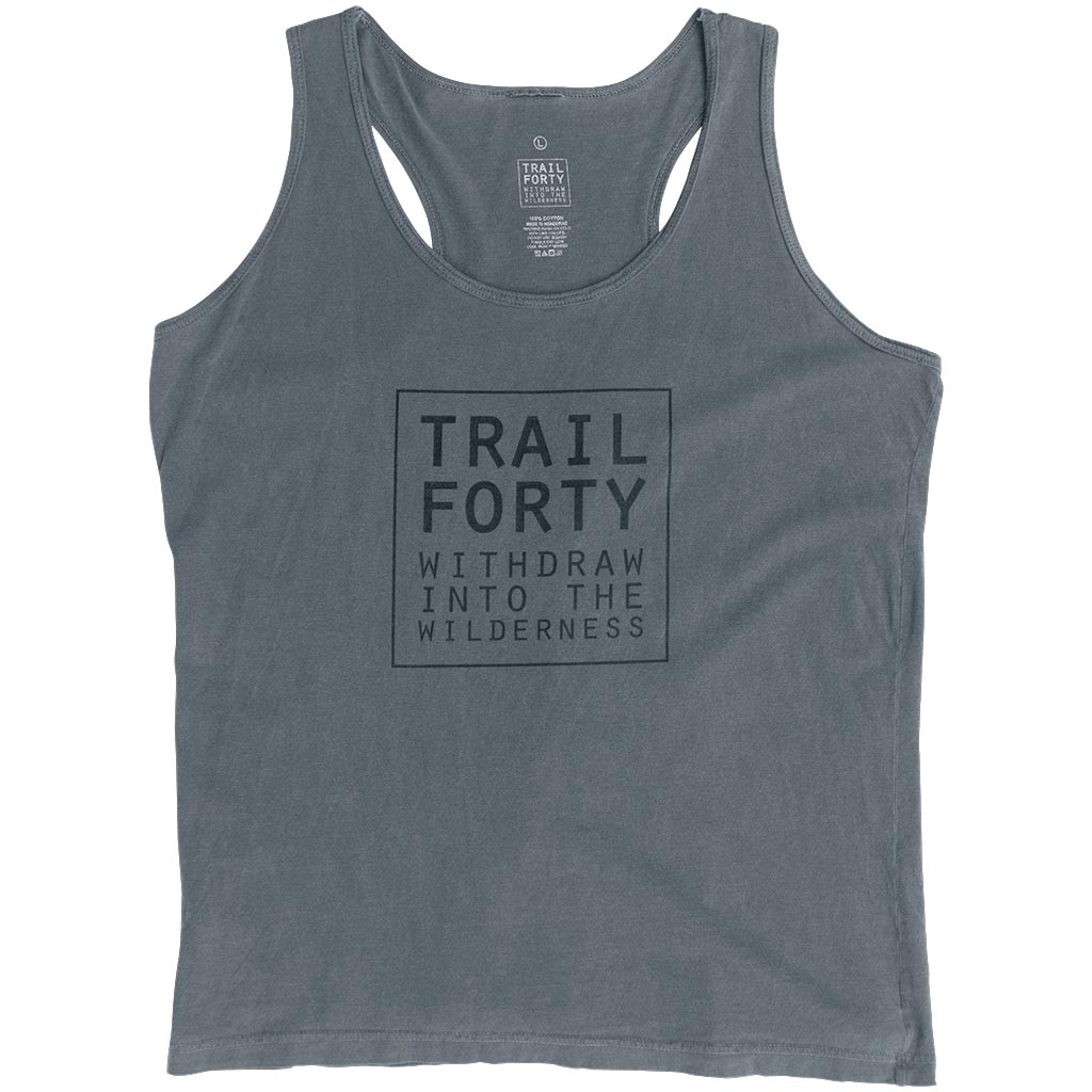 Tank Top | Women | Gray | Faith inspired apparel and gear. Christian clothing and backpacks. T-Shirts, Sweatshirts, and Bags. TRAIL FORTY | WITHDRAW INTO THE WILDERNESS | Luke 5:16 | TRAILFORTY.com