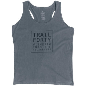 TRAIL FORTY | Tank Top | Women | Gray | Faith inspired apparel and gear. Christian clothing and backpacks. T-Shirts, Sweatshirts, and Bags. TRAIL FORTY | WITHDRAW INTO THE WILDERNESS | Luke 5:16 | TRAILFORTY.com