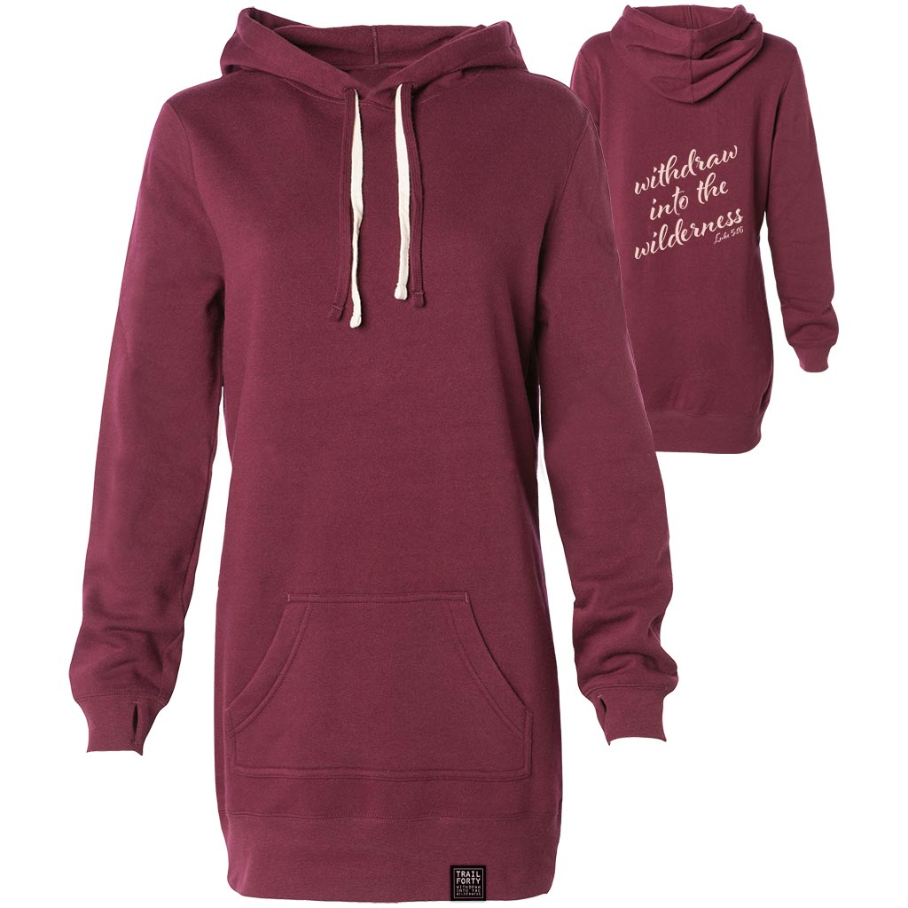 TRAIL FORTY |  Hooded Pullover Dress Sweatshirt | Maroon/Cream | Faith inspired apparel and gear. Christian clothing and backpacks. T-Shirts, Sweatshirts, and Bags. TRAIL FORTY | WITHDRAW INTO THE WILDERNESS | Luke 5:16 | TRAILFORTY.com