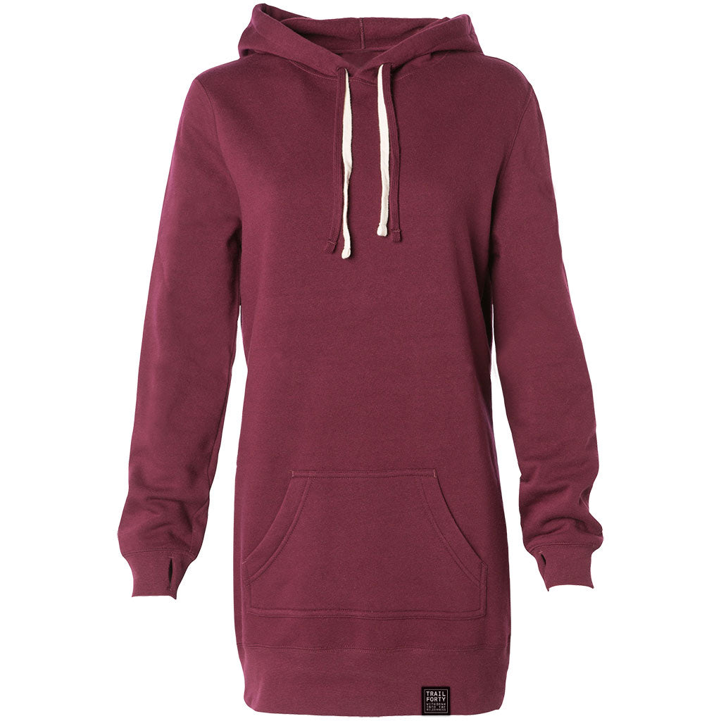 TRAIL FORTY |  Hooded Pullover Dress Sweatshirt | Maroon/Cream | TRAIL FORTY | WITHDRAW INTO THE WILDERNESS | Luke 5:16 | TRAILFORTY.com