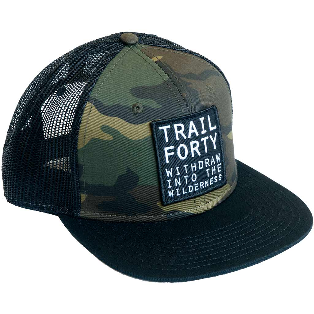 TRAIL FORTY | Snapback Cap | Camo | Faith inspired apparel and gear. Christian clothing and backpacks. T-Shirts, Sweatshirts, and Bags. TRAIL FORTY | WITHDRAW INTO THE WILDERNESS | Luke 5:16 | TRAILFORTY.com