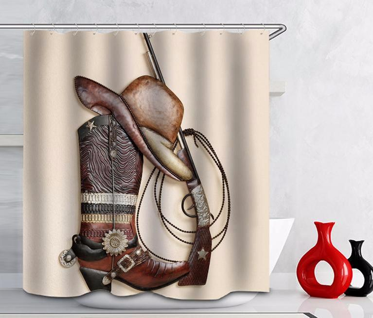 Model Western Cowboy Shower Curtain Feature Stocked Eco Friendly Material Polyester Pattern Gun Size 72 X 180x180cm