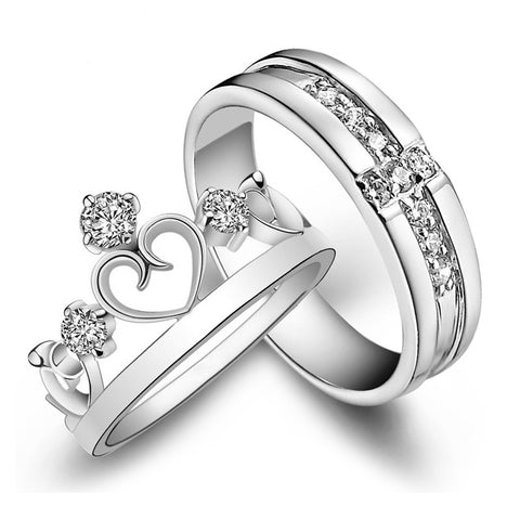 2Pieces Resizable Couple Rings Elegant White Gold 18 styles for you