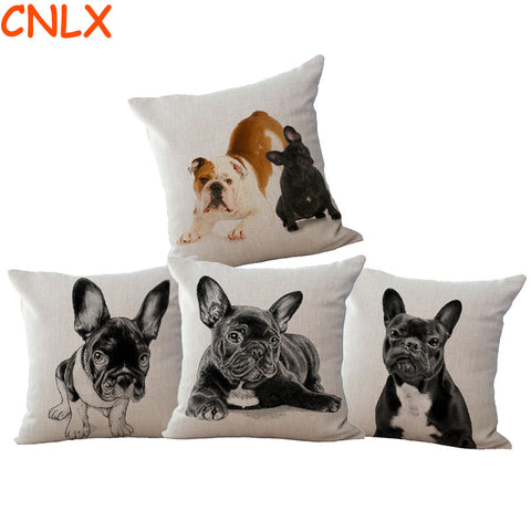 French Bulldogs Coloful Pillow Case